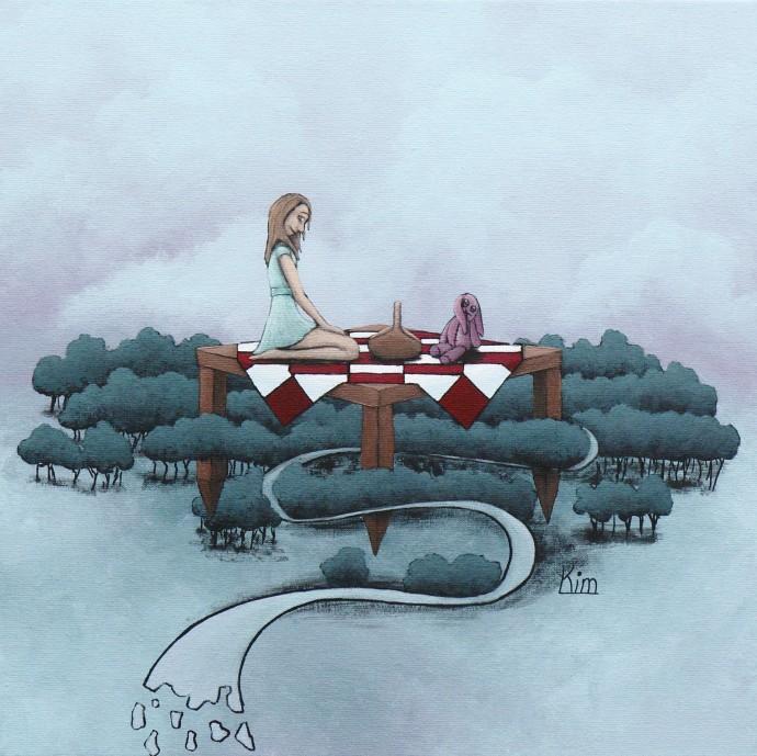 Kim Wiggers surrealistisch surrealism magisch realististisch magic realism acrylverf acrylic schilderij painting Picknick tijd
