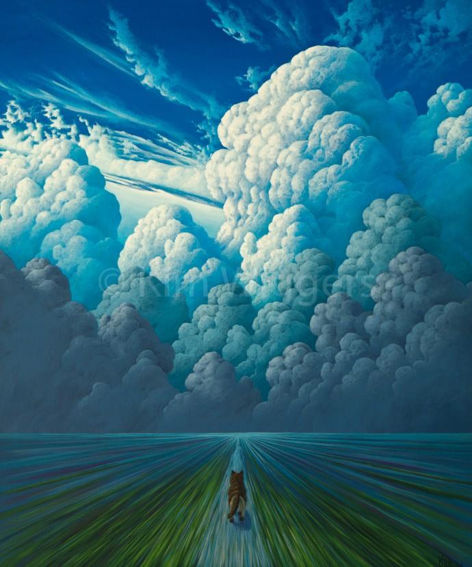 Kim Wiggers surrealistisch surrealism magisch realististisch magic realism acrylverf acrylic schilderij painting Dynamische Wending