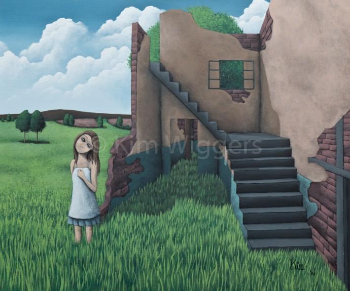 Kim Wiggers surrealistisch surrealism magisch realististisch magic realism acrylverf acrylic schilderij painting Gedreven Hoop