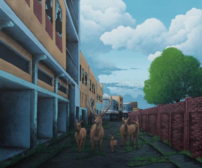 Kim Wiggers surrealistisch surrealism magisch realististisch magic realism acrylverf acrylic schilderij painting Kringloop