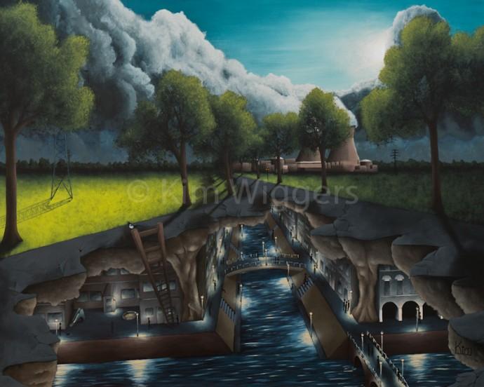 Kim Wiggers surrealistisch surrealism magisch realististisch magic realism acrylverf acrylic schilderij painting Omgekeerde Oorzaak