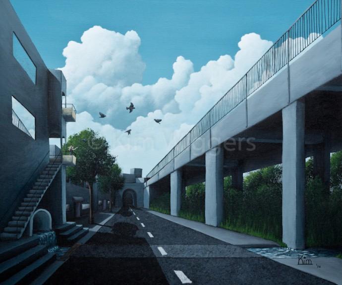 Kim Wiggers surrealistisch surrealism magisch realististisch magic realism acrylverf acrylic schilderij painting Ondoordringbare Vasthoudendheid