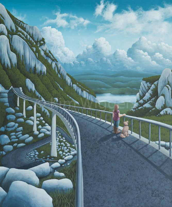 Kim Wiggers surrealistisch surrealism magisch realististisch magic realism acrylverf acrylic schilderij painting Perspectief