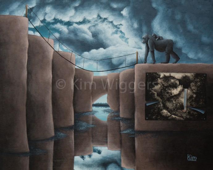Kim Wiggers surrealistisch surrealism magisch realististisch magic realism acrylverf acrylic schilderij painting Reflectie van dat wat waar is