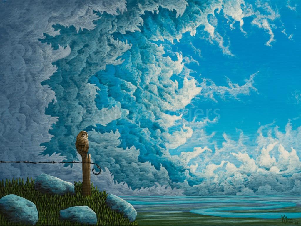 Kim Wiggers surrealistisch surrealism magisch realististisch magic realism acrylverf acrylic schilderij painting Uitbreken