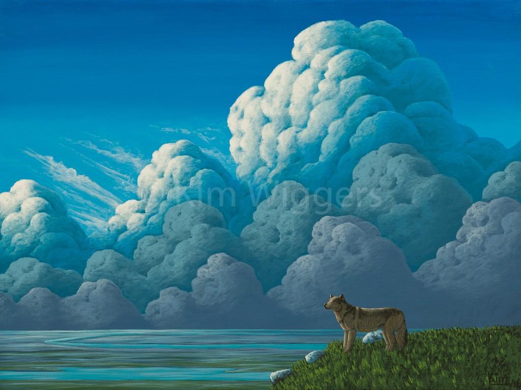 Kim Wiggers surrealistisch surrealism magisch realististisch magic realism acrylverf acrylic schilderij painting Uitkijken