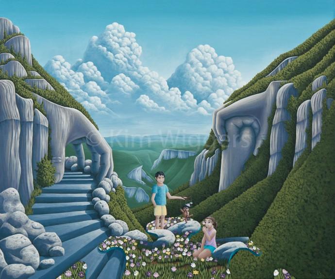 Kim Wiggers surrealistisch surrealism magisch realististisch magic realism acrylverf acrylic schilderij painting Verborgen Gebondenheid