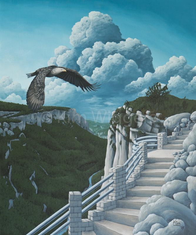 Kim Wiggers surrealistisch surrealism magisch realististisch magic realism acrylverf acrylic schilderij painting Verkozen Richting