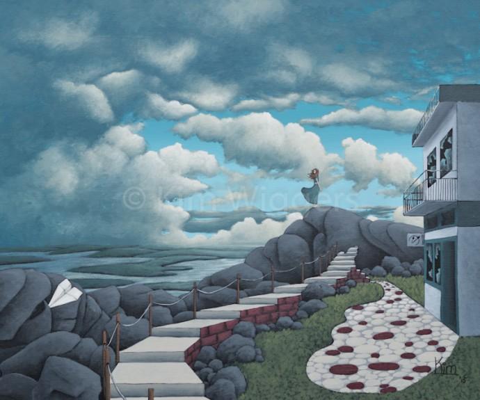 Kim Wiggers surrealistisch surrealism magisch realististisch magic realism acrylverf acrylic schilderij painting Verlaten Rust