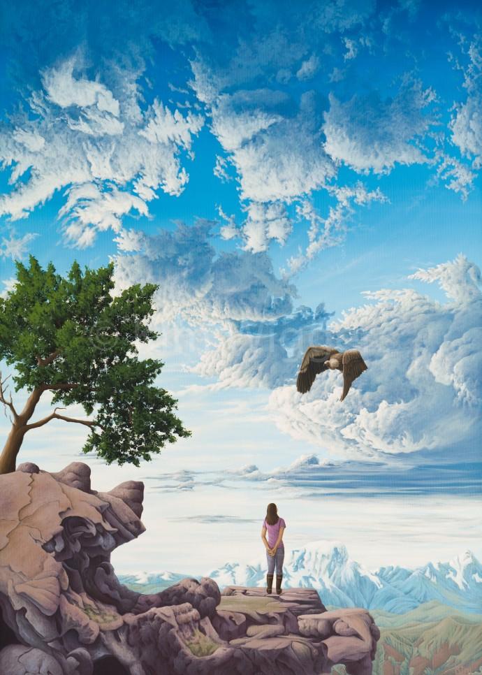 Kim Wiggers surrealistisch surrealism magisch realististisch magic realism acrylverf acrylic schilderij painting Verlengt Zicht