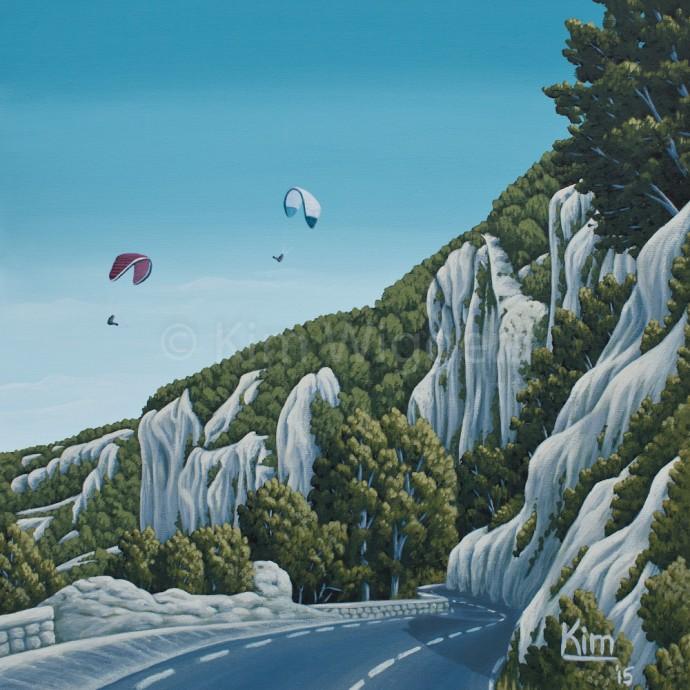 Kim Wiggers surrealistisch surrealism magisch realististisch magic realism acrylverf acrylic schilderij painting Verplaatsing