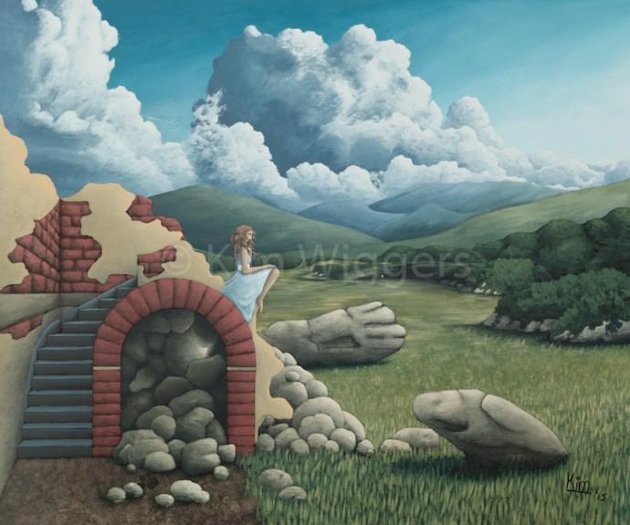 Kim Wiggers surrealistisch surrealism magisch realististisch magic realism acrylverf acrylic schilderij painting Verstarde Blik