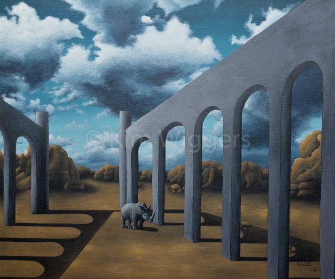 Kim Wiggers surrealistisch surrealism magisch realististisch magic realism acrylverf acrylic schilderij painting Versteende Ruis