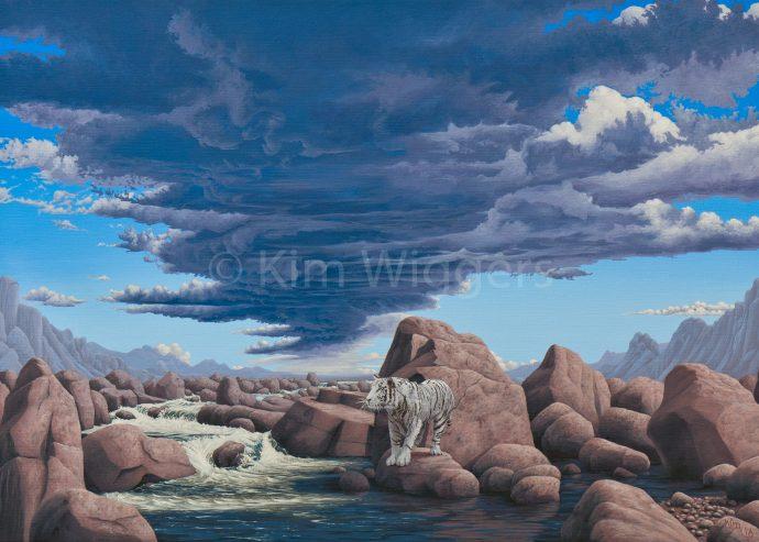 Kim Wiggers surrealistisch surrealism magisch realististisch magic realism acrylverf acrylic schilderij painting Bustamiet