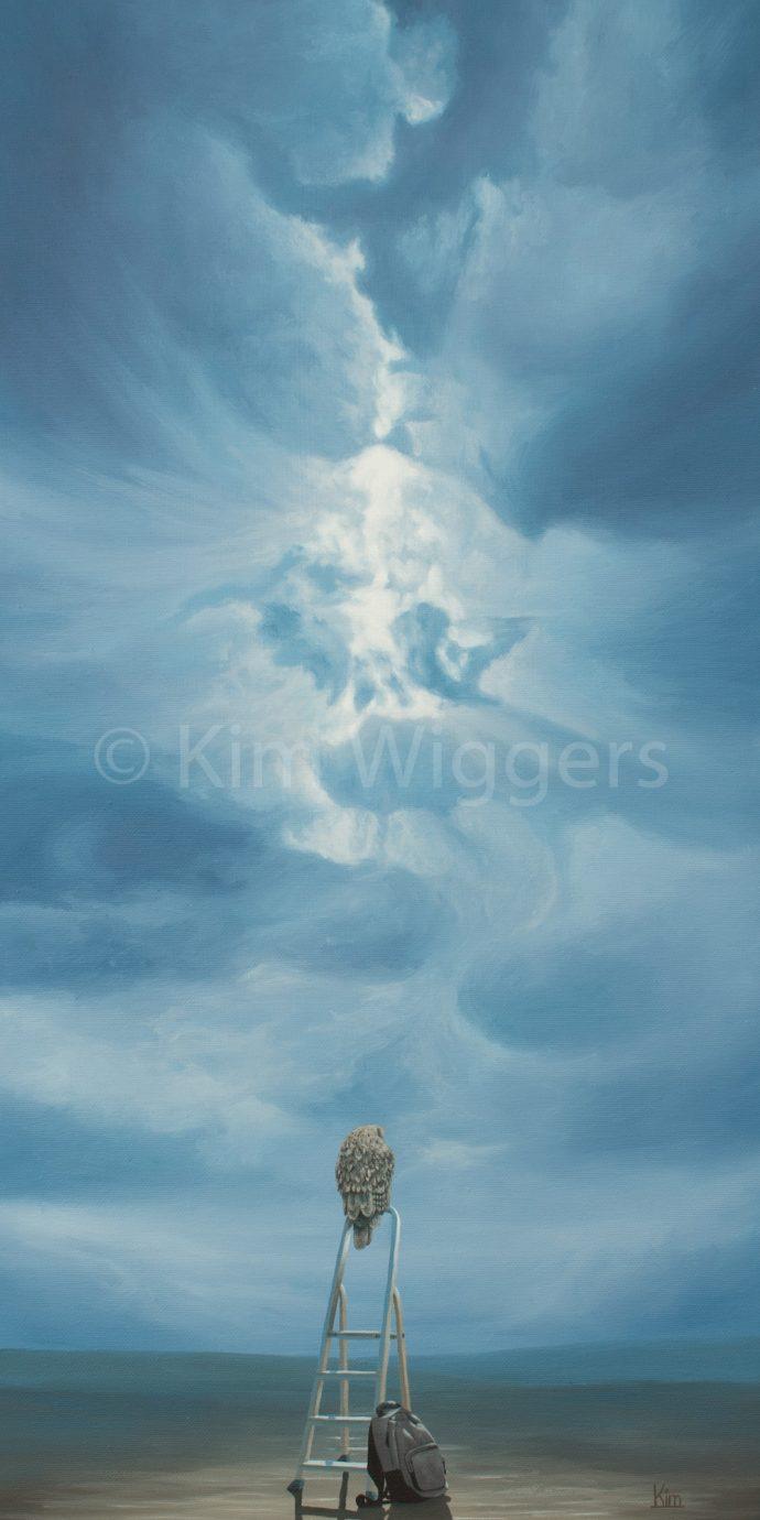 Kim Wiggers surrealistisch surrealism magisch realististisch magic realism acrylverf acrylic schilderij painting Overgang