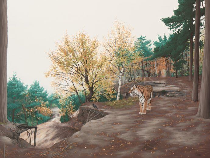 Kim Wiggers surrealistisch surrealism magisch realististisch magic realism olieverf oil painting schilderij painting Omkijken